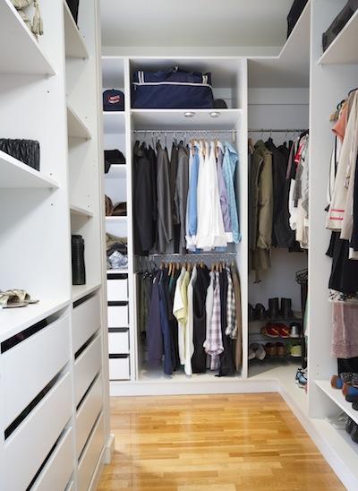 Modern walk in wardrobe in a contemporary home