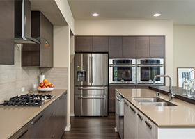 Diffe Size Cabinets In Contemporary Kitchen